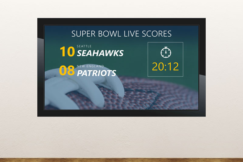 Free digital signage powerpoint template display super bowl game results in real-time