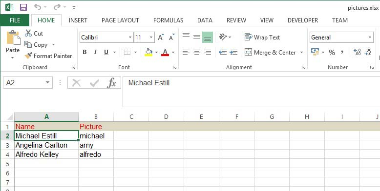 excel file with names of images