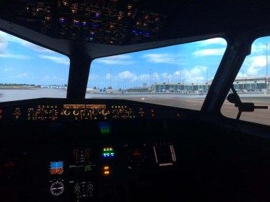 Airport flight information screens for flight simulator service 4