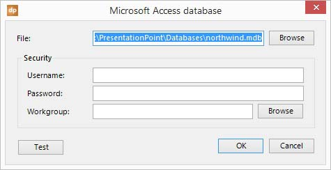 browse to select the microsoft access database on your hard disc or network