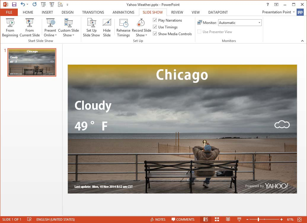 this is how the weather information looks on your slide
