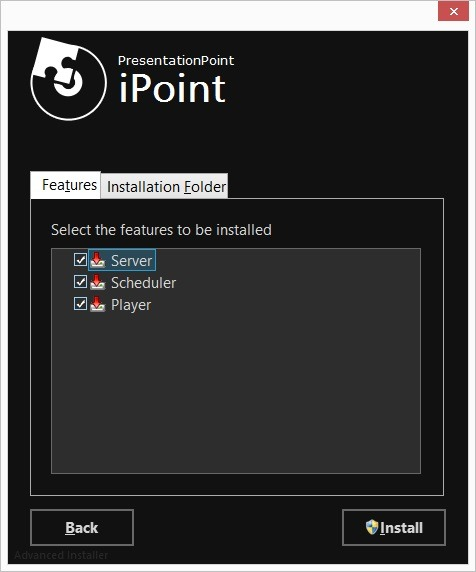 choose the ipoint components to be installed on this machine