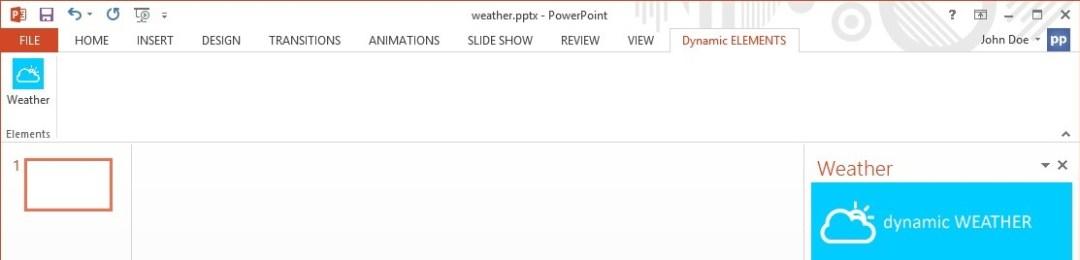 menu of the dynamic weather addon in powerpoint menu