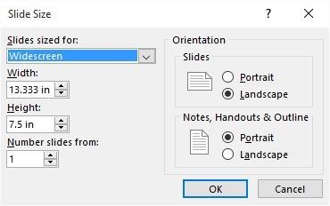 powerpoint resolution default slide size