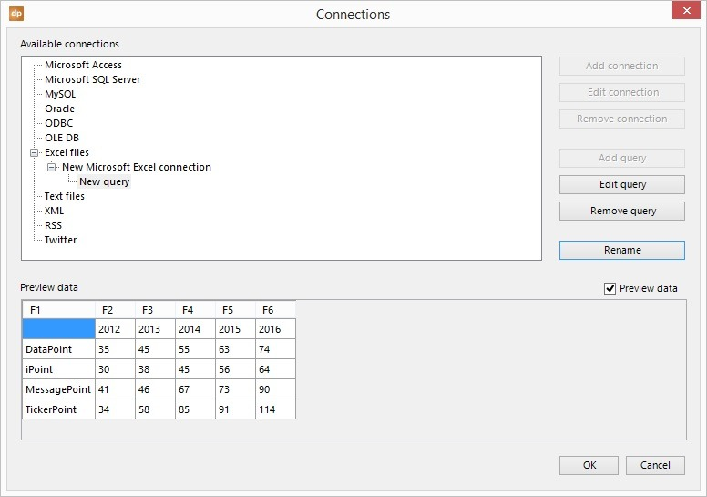 preview the linked excel data