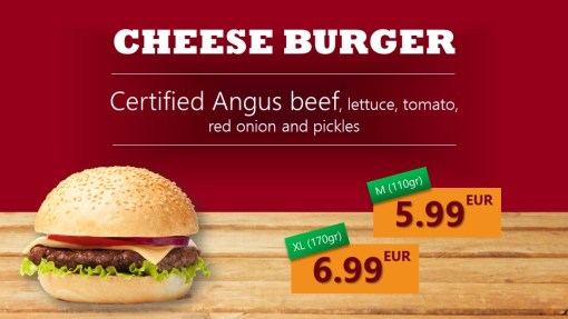 Premium PowerPoint Template for hamburger and take-away restaurants - cheese burger
