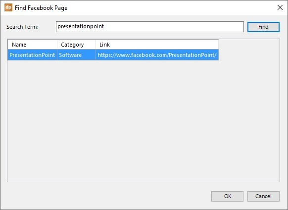 search for facebook page in powerpoint