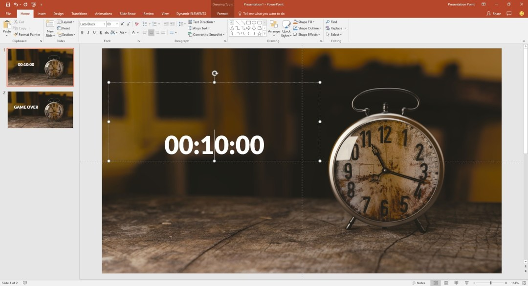 dynamic timer is placed on slide
