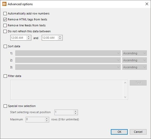 advanced options, remove html formatting