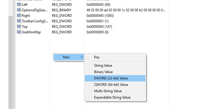 add a new entry DWORD to the registry