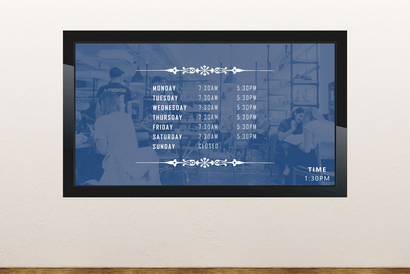 Digital signage template with business hours slides for your infotainment displays in your shop, museum, tourist office etc
