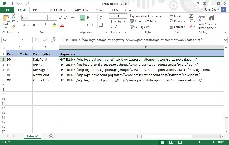 excel datasheet with hyperlinks and other information