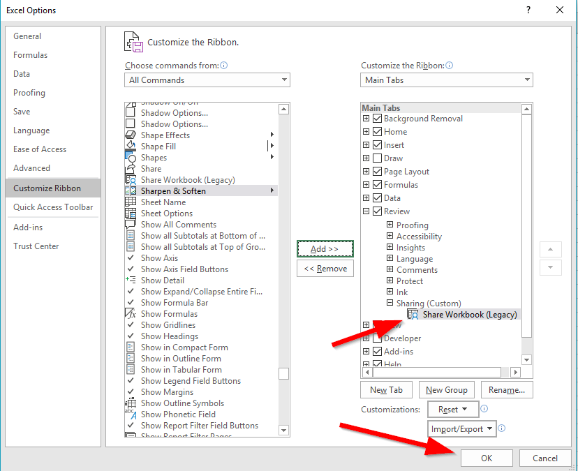 Recovering the Missing Excel Share Workbook Command