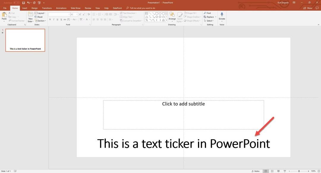 PowerPoint ticker text animation