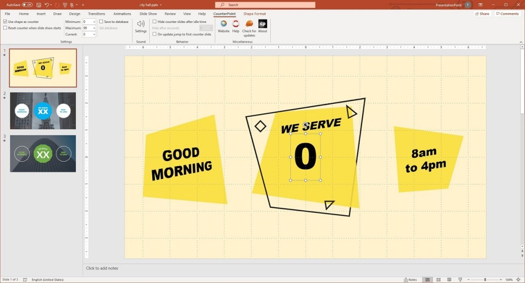 set normal PowerPoint textbox shape to display waiting queue counter