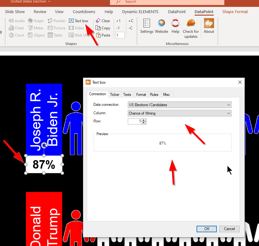 connect text box to data