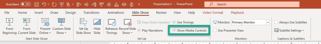 hide video media controls from slideshow