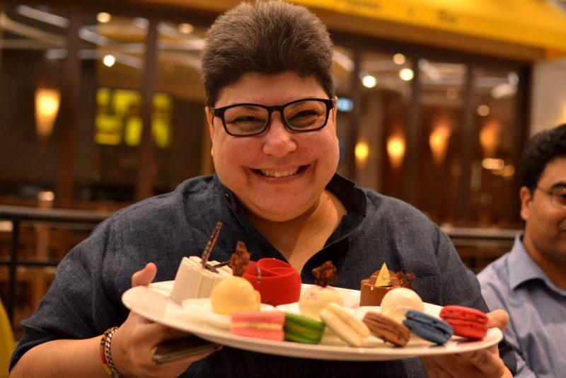 rukshana kapadia with yauatcha dessert platter