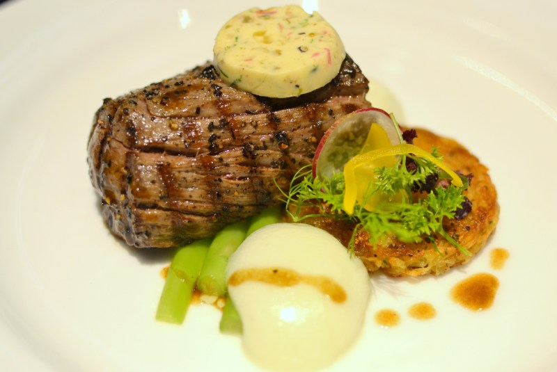 Chargrilled Tenderloin Of Beef, Café De Paris Butter, Asparagus Spears And Rosti Potatoes