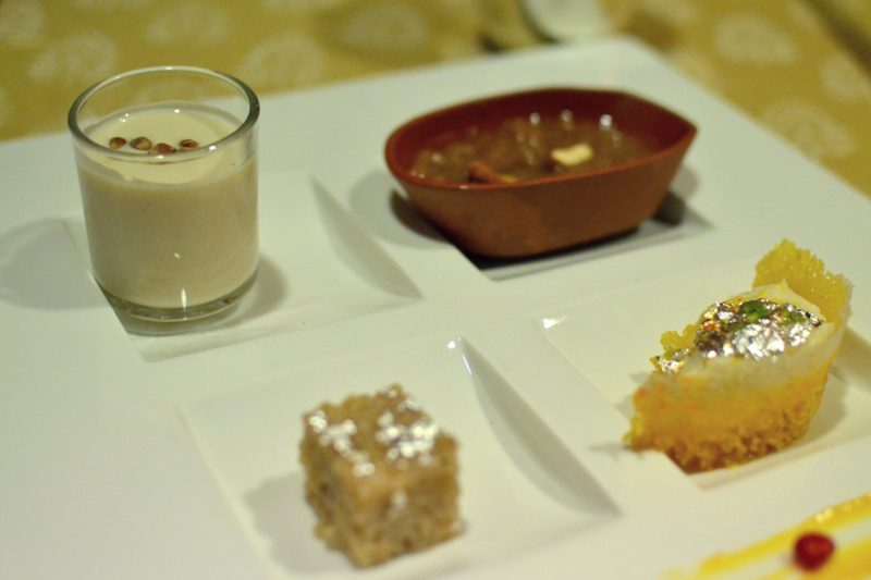 Top left: Basundi, Top Right: Mung Daal ka sheera, Bottom Left: Lapsi, Bottom Right: Ghevar
