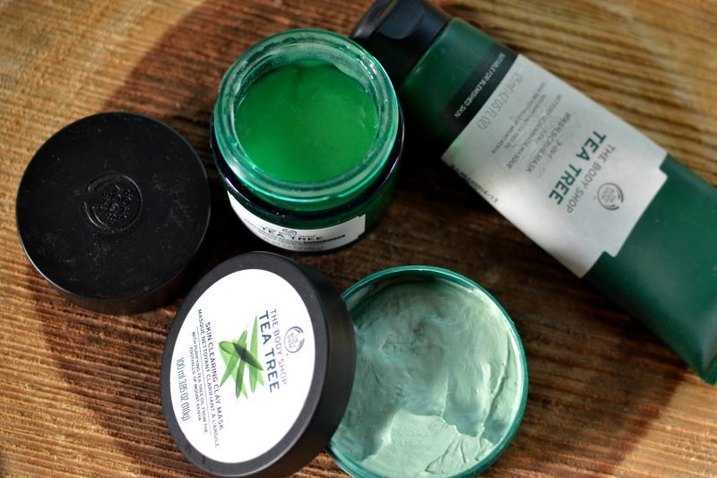 The Body Shop Tea Tree Skin Clearing Clay Mask and The Body Shop Tea Tree 3-in-1 Wash Scrub Mask.