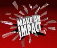 Make an Impact 3D Words Breaking Glass Important Difference
