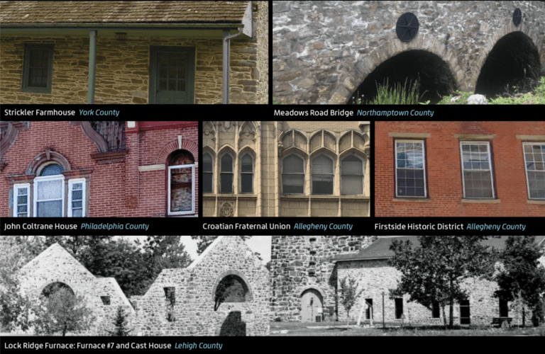 collage of at risk buildings