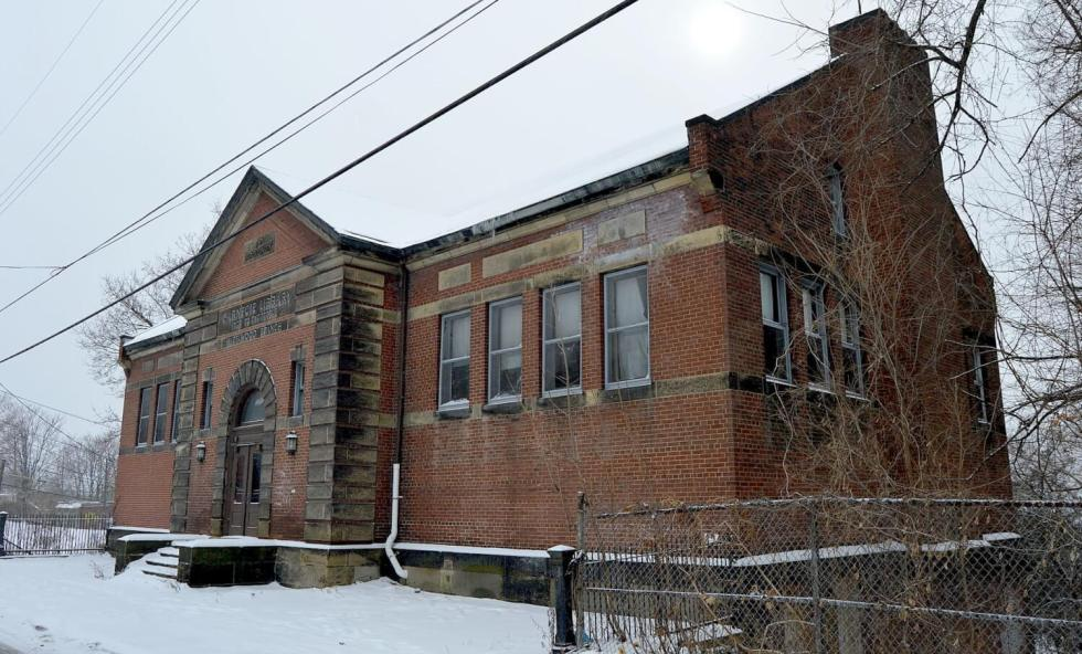 abandoned library building in the snow