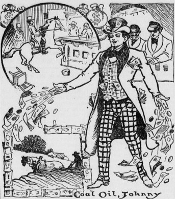 vintage illustration of Coal Oil Johnny with dollar bills flying from his fingers