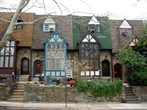 A row of Tudor Revival style houses