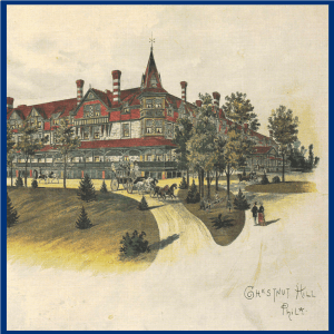 color print of the Wissahickon Inn, showing its chimneys, turrets and wrap-around porch.
