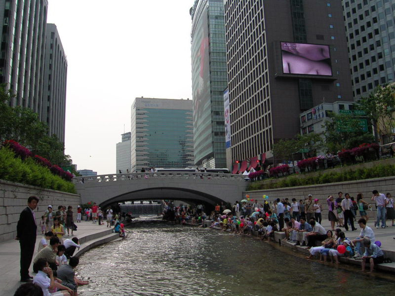 The restored river in downtown Seoul