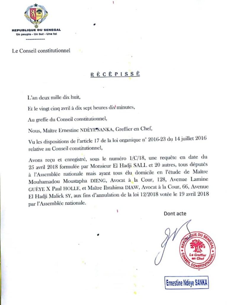 Bataille contre le parrainage : l'opposition pose le premier acte  auprès des 7 sages (Document)