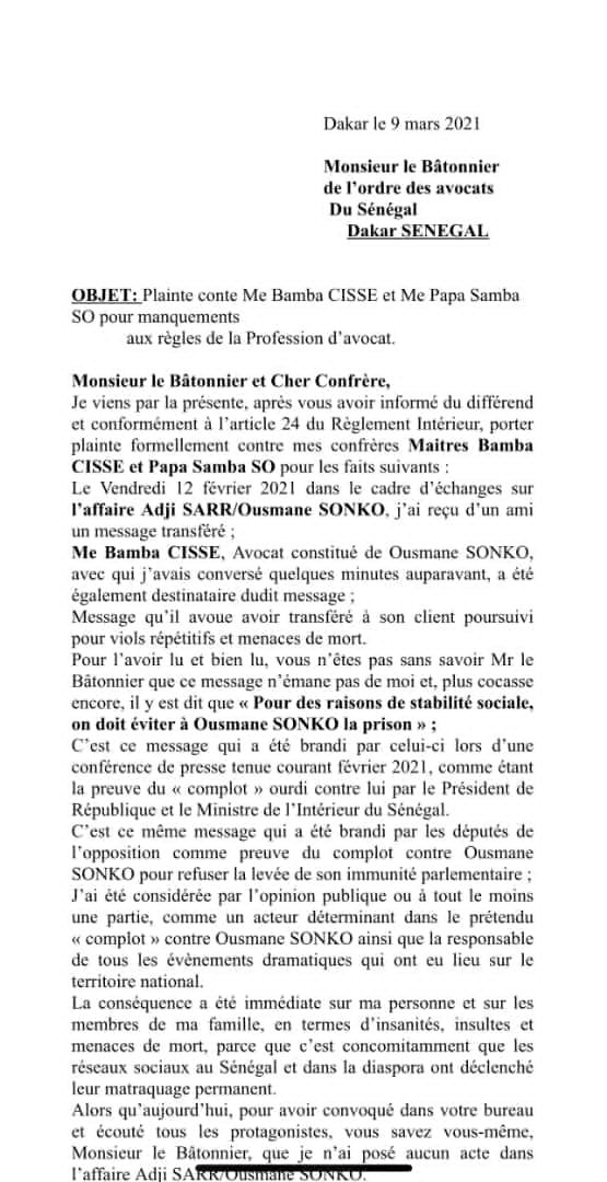 Affaire Sweet Beauty: Me Dior Diagne porte plainte contre ses confrères Mes Bamba Cissé et Papa Samba So