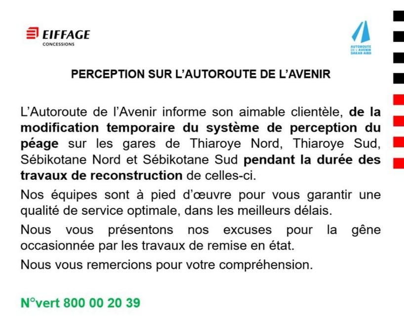 L'Autoroute de l'Avenir annonce la modification temporaire du système de perception du péage de 4 de ses gares
