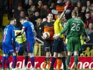 United goalkeeper Michal Szromnik was sent off after just six minutes on Tuesday night