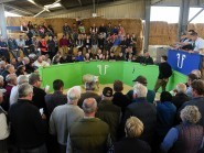 A packed ringside at the on-farm tup sale