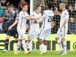 Inverness forward Miles Storey (second from left) celebrates his goal