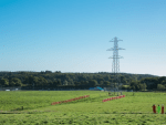 The pylon being removed as part of the AWPR project near Aberdeen