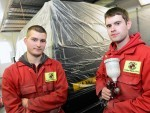 Apprentice 100 ;  Smart Refinishers, Dyce Drive, Aberdeen.     Pictured - Panel Beater Dariusz Lewandowski  (left) and Painter Steven Milne.          Picture by Kami Thomson    25-09-15
