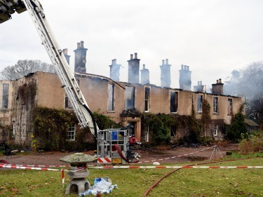 Blackhills House, near Elgin, following a major fire in the early hours of Thursday morning. Pictures by Gordon Lennox