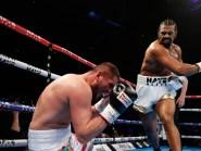 David Haye, right, knocked down Arnold Gjergjaj in the second round