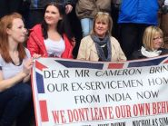 The friends and relatives of six British forces veterans jailed in India call on the Government to bring them home during a rally in Carlisle, Cumbria