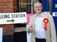 Thumbs up from Labour leader Jeremy Corbyn, but his party has suffered a host of election defeats