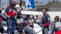 Sir Ben Ainslie (right) and his Land Rover BAR crew
