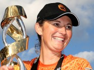 Southern Vipers captain Charlotte Edwards celebrates with the trophy after winning in the inaugural Kia Super League final