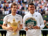 Andy Murray, pictured left, and Milos Raonic, right, have already butted heads this year