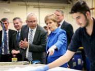 Nicola Sturgeon visited leather manufacturer Andrew Muirhead & Son in Dalmarnock as the GERS report was published