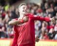 Aberdeen's James Maddison celebrates scoring the winner against Rangers.