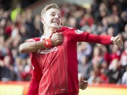 Aberdeen's James Maddison celebrates scoring the winner against Rangers.